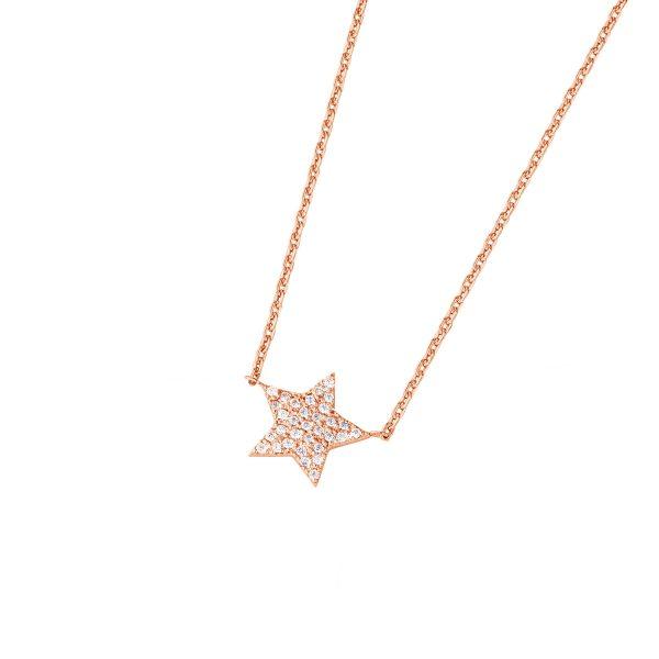 DOOSTI Damen Collier mit Anhänger Stern 925 Silber Rosegold vergoldet
