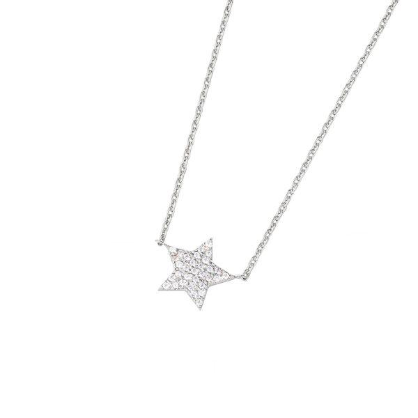 DOOSTI Zarte Halskette Stern 925 Silber rhodiniert