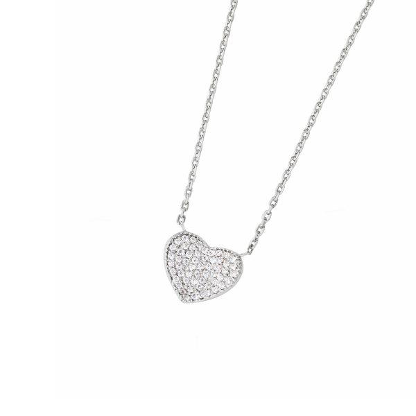 DOOSTI Zarte Halskette Herz 925 Silber rhodiniert
