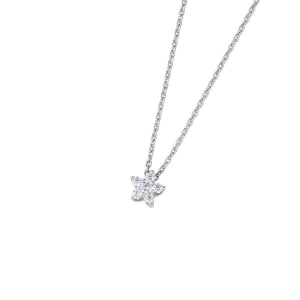 DOOSTI Zarte Halskette Blume 925 Silber rhodiniert