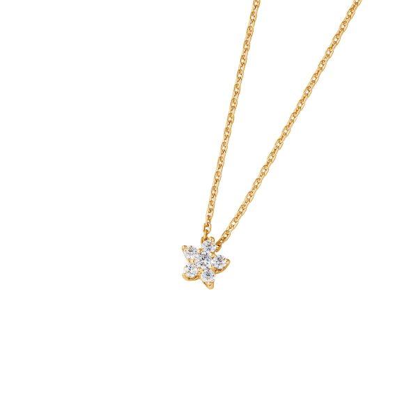 DOOSTI Zarte Halskette Blume 925 Silber Gelbgold vergoldet