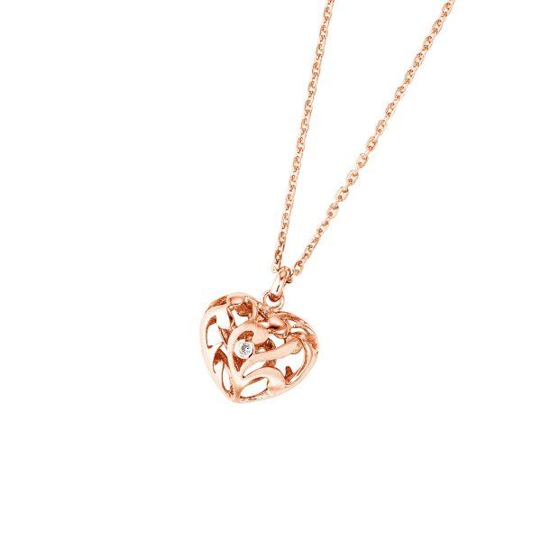 DOOSTI Zarte Halskette Herz 925 Silber Rosegold vergoldet