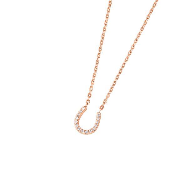 DOOSTI Zarte Halskette Hufeisen 925 Silber Rosegold vergoldet