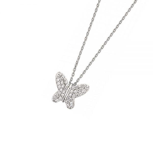 DOOSTI Zarte Halskette Schmetterling 925 Silber rhodiniert