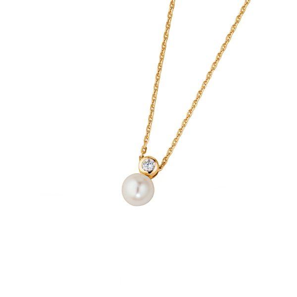 DOOSTI Zarte Halskette Perle 925 Silber Gelbgold vergoldet