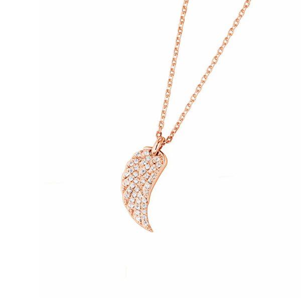 DOOSTI Zarte Halskette Flügel 925 Silber Rosegold vergoldet