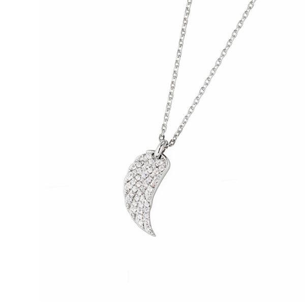 DOOSTI Zarte Halskette Flügel 925 Silber rhodiniert