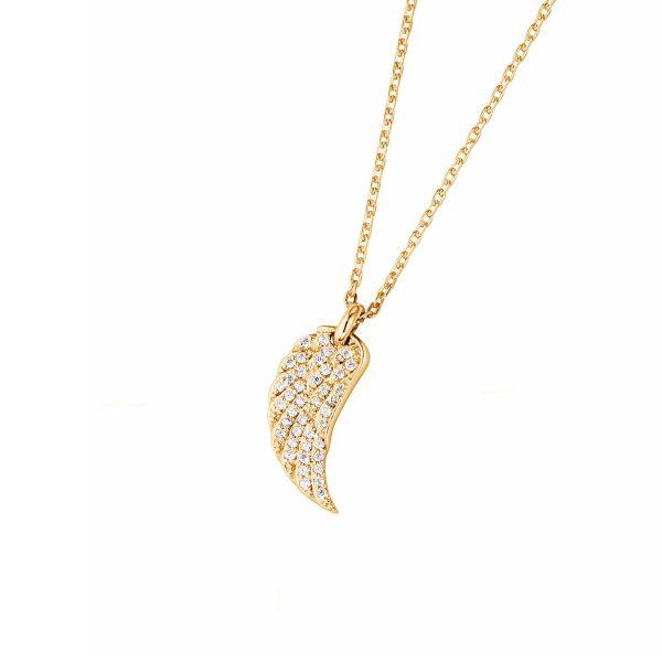 DOOSTI Zarte Halskette Flügel 925 Silber Gelbgold vergoldet