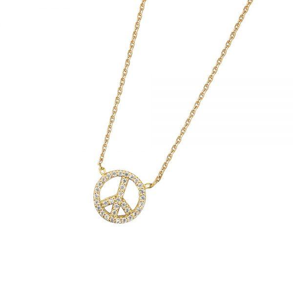 DOOSTI Zarte Halskette Peace 925 Silber Gelbgold vergoldet