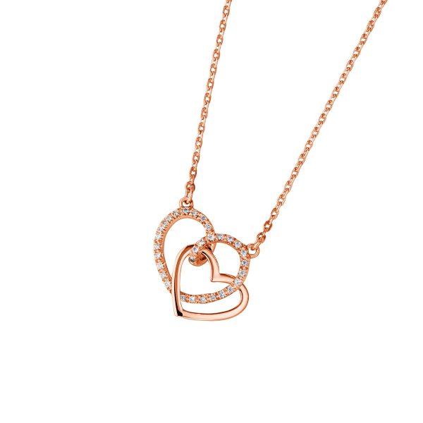 DOOSTI Zarte Halskette Herzen 925 Silber Rosegold vergoldet