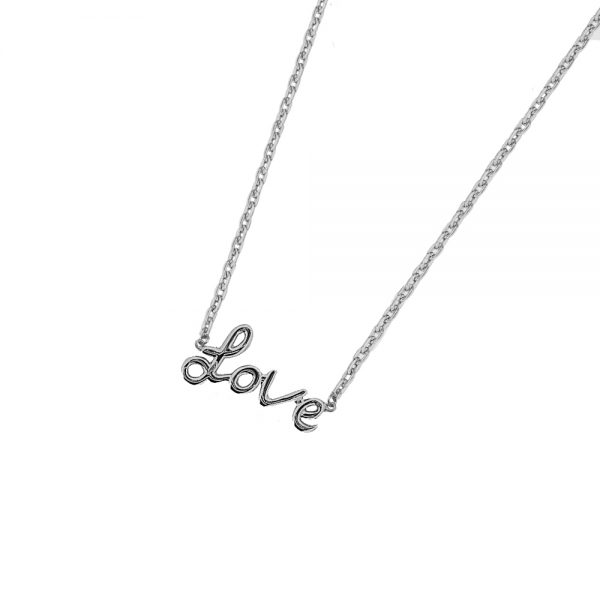 DOOSTI Zarte Halskette Love 925 Silber rhodiniert