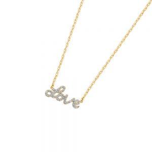 DOOSTI Zarte Halskette Love 925 Silber Gelbgold vergoldet