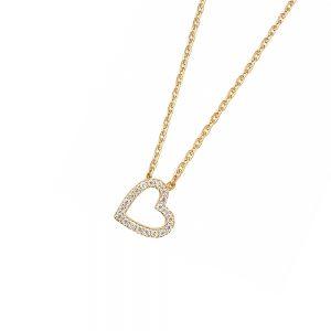 DOOSTI Zarte Halskette Herz 925 Silber Gelbgold vergoldet
