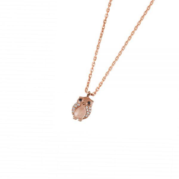DOOSTI Zarte Halskette Eule 925 Silber Rosegold vergoldet