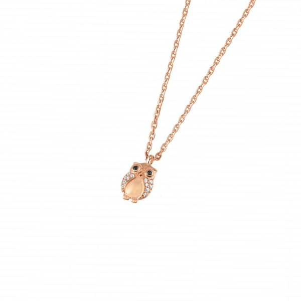 DOOSTI Zarte Halskette Eule 925 Silber Gelbgold vergoldet