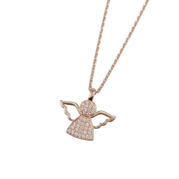 DOOSTI Damen Collier mit Anhänger Engel 925 Silber Rosegold vergoldet
