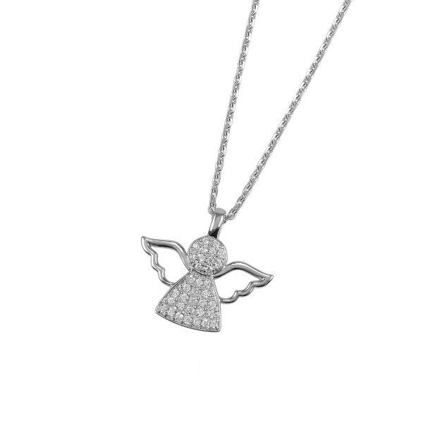 DOOSTI Damen Collier mit Anhänger Engel 925 Silber rhodiniert