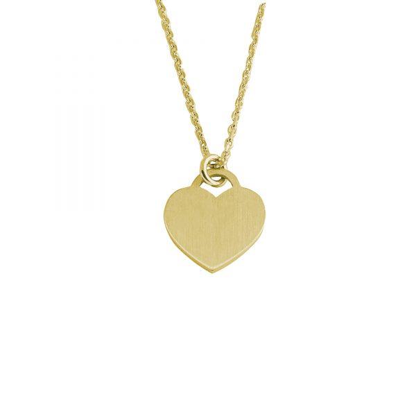 DOOSTI Damen Collier mit Anhänger Herz Platte 925 Silber Gelbgold vergoldet - inkl. Gratis Lasergravur